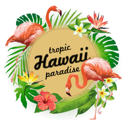 Hawaii Tropic Paradise Illustration Sticker