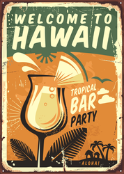 Hawaii Vintage Metal Sign Sticker