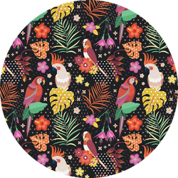 Hawaiian Pattern With Exotic Colorful Cockatoo's Sticker