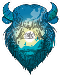 Head Of A Buffalo With A Night Forest Landscape Sticker