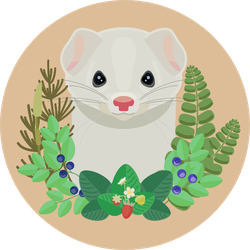 Head Of A White Ferret With A Wreath Of Forest Grass Sticker