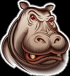 Head Of An Animal Hippo Sticker