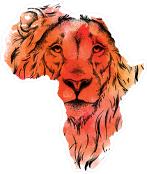 Head Of Lion In Map Of Africa Sticker
