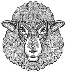 Head Sheep Illustration With Floral Elements Sticker