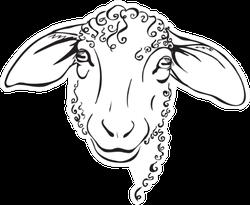 Head Sheep, Stylized Black And White Sticker