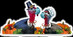 Healthy Thanksgiving Banner Turkeys In Masks Sticker