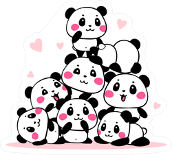 Heap Of Cartoon Pandas Stickers