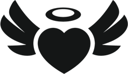 Heart Angel Wings With Halo Silhouette Sticker