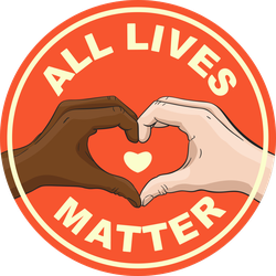 Heart Hands All Lives Matter Circle Sticker