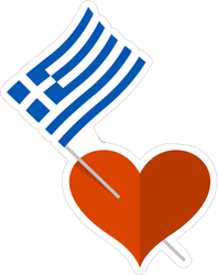 Heart Icon With Greece Flag Sticker