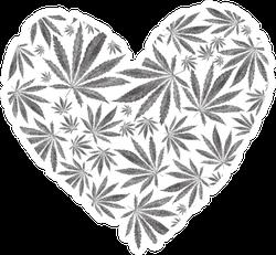 Heart Of Marijuana Or Cannabis Leaves Sticker