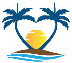 Heart Palm Trees Sticker