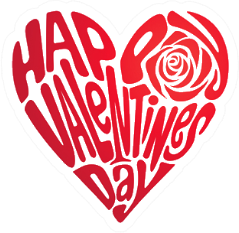 Heart Shape Of Text Happy Valentines Day Sticker