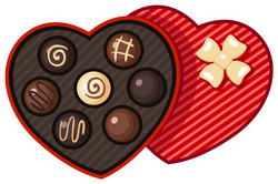 Heart Shaped Candy Box Sticker