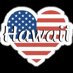 Heart Shaped National Flag Hawaii Sticker