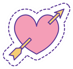 Heart With Arrow Line And Fill Style Sticker