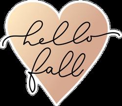 Heart with Hello Fall Minimalistic Lettering Sticker