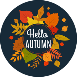 Hello Autumn Background With Fall Leaves Sticker