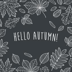 Hello Autumn! Chalk Leaves Sticker