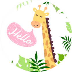 Hello Cute Giraffe And Tropical Leaves Sticker