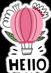 Hello Cute Hot Air Balloon Sticker