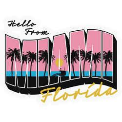 Hello From Miami Florida Text Illustration Sticker