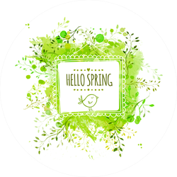 Hello Spring Bird and Leaves Sticker