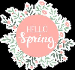 Hello Spring Circle Flowers Sticker