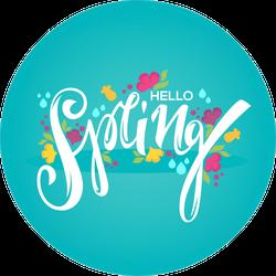 Hello Spring Flower Circle Sticker
