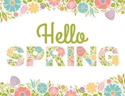 Hello Spring Flowers Text Sticker