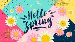 Hello Spring Patchwork Sticker