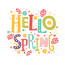 Hello Spring With Decorative Flower and Hearts Sticker