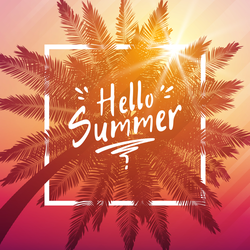 Hello Summer Palm And Frame Sticker