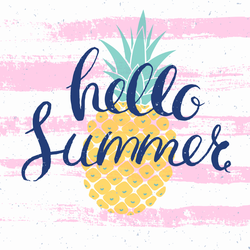 Hello Summer Pineapple Square Sticker
