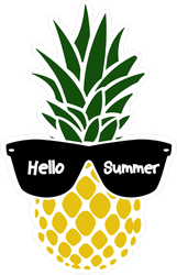 Hello Summer Pineapple With Glasses Sticker