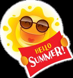 Hello Summer Sign Sun Sticker