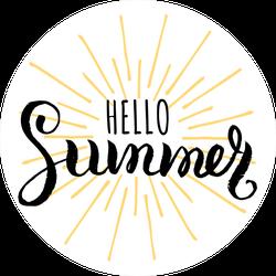 Hello Summer Sunburst Sticker