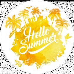Hello Summer Watercolor Sticker
