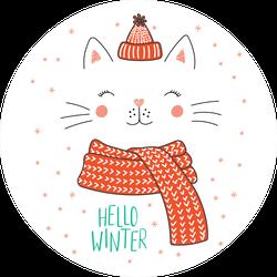 Hello Winter Cat Sticker
