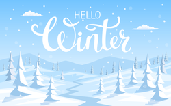 Hello Winter Snowy Forest Sticker