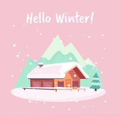 Hello Winter Snowy Landscape Sticker