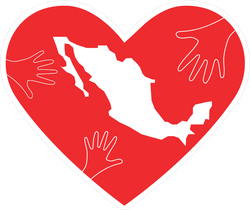 Helping Hands Heart And Mexico Map Sticker