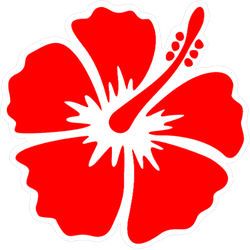 Hibiscus Bright Red Flower Sticker