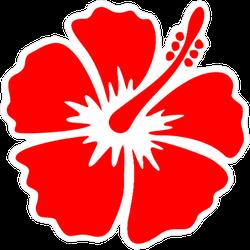 Hibiscus Bright Red Flower Sticker