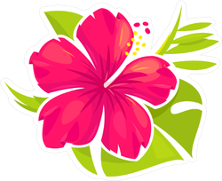 Hibiscus Flower And Palm Leaves Sticker
