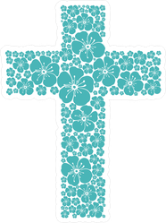 Hibiscus Flower Christian Cross Sticker
