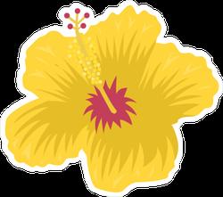 Hibiscus Flower Yellow Sticker