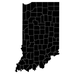 High Detailed Map With Counties - Indiana Sticker