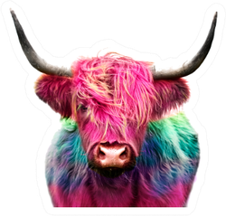 Highland Cow Colorful Dyed Hair, Punk Concept Sticker