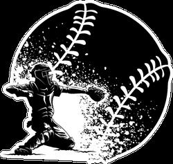 Highlighted Silhouette Of A Baseball Catcher Sticker
